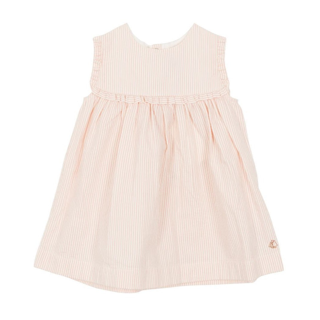 Fatima Short Sleeved Seersucker Dress in Pink