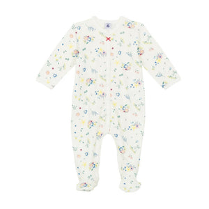 Fanessa Front Snap Floral Footie in White Multi