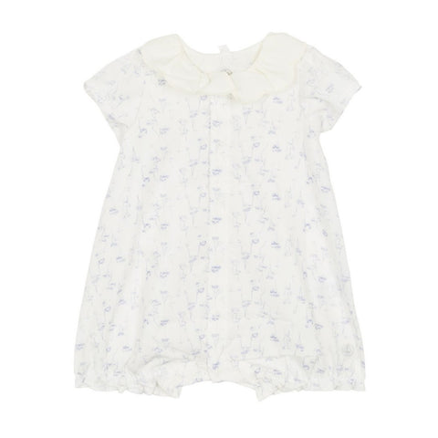 Fadine Short Sleeved Floral Bubble Onesie in Blue + White