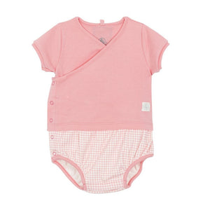 Face Check Bottom Romper in Pink
