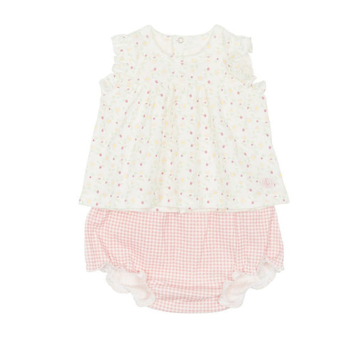 Fabuleuse Floral Dress + Check Bloomer Set in Pink Multi