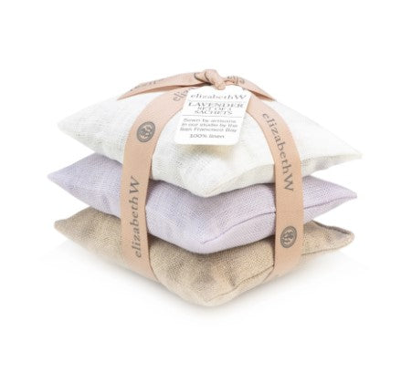 Lavender Scented Linen Sachet Set in Purple