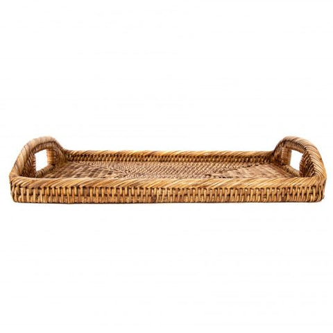 Rattan Rectangular Tray with High Handles