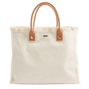Cap Ferrat Large Carryall Tote in Beige + Tan