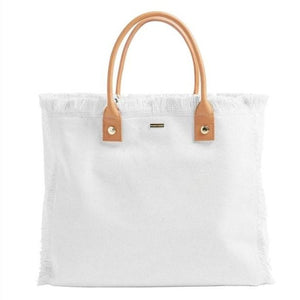 Cap Ferrat Large Carryall Tote in White + Tan