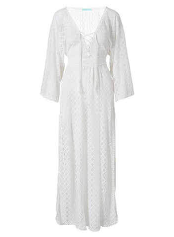 Nina Lace Up Maxi Kaftan in White