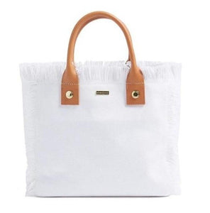 Porto Cervo Small Carryall Tote in White + Tan