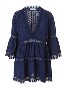 Victoria Embroidered V-Neck Dress in Navy