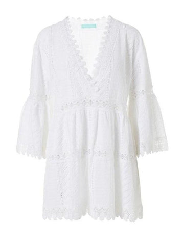 Victoria Embroidered V-Neck Dress in White