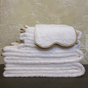 Cairo Scallop Towels in White + Linen