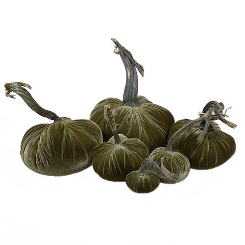 Velvet Decorative Pumpkin in Celery