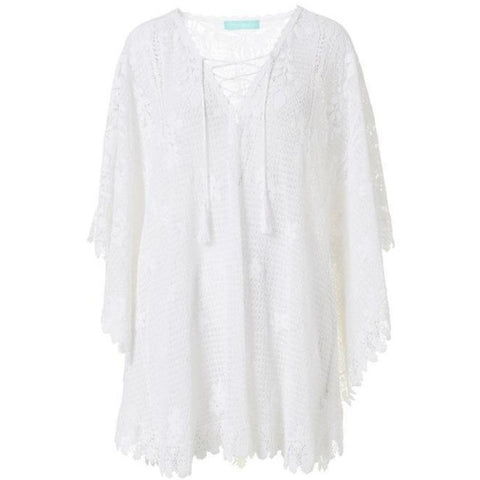 Cindy Short Lace Kaftan in White