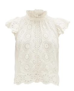 Daisy Flutter Sleeve Top in Off White