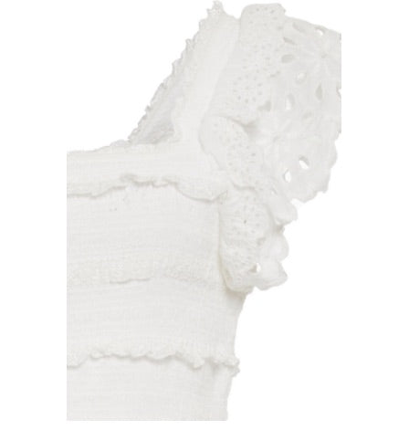 Daisy Smocked Midi Dress in Off White