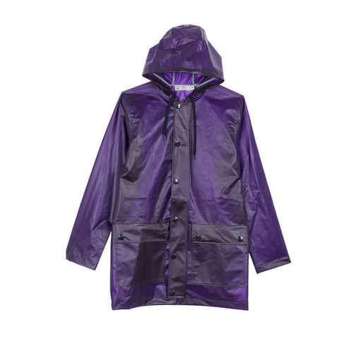 Fusion Frosted Hooded Raincoat in Purple