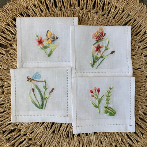 Hand Embroidered Garden Cocktail Napkin