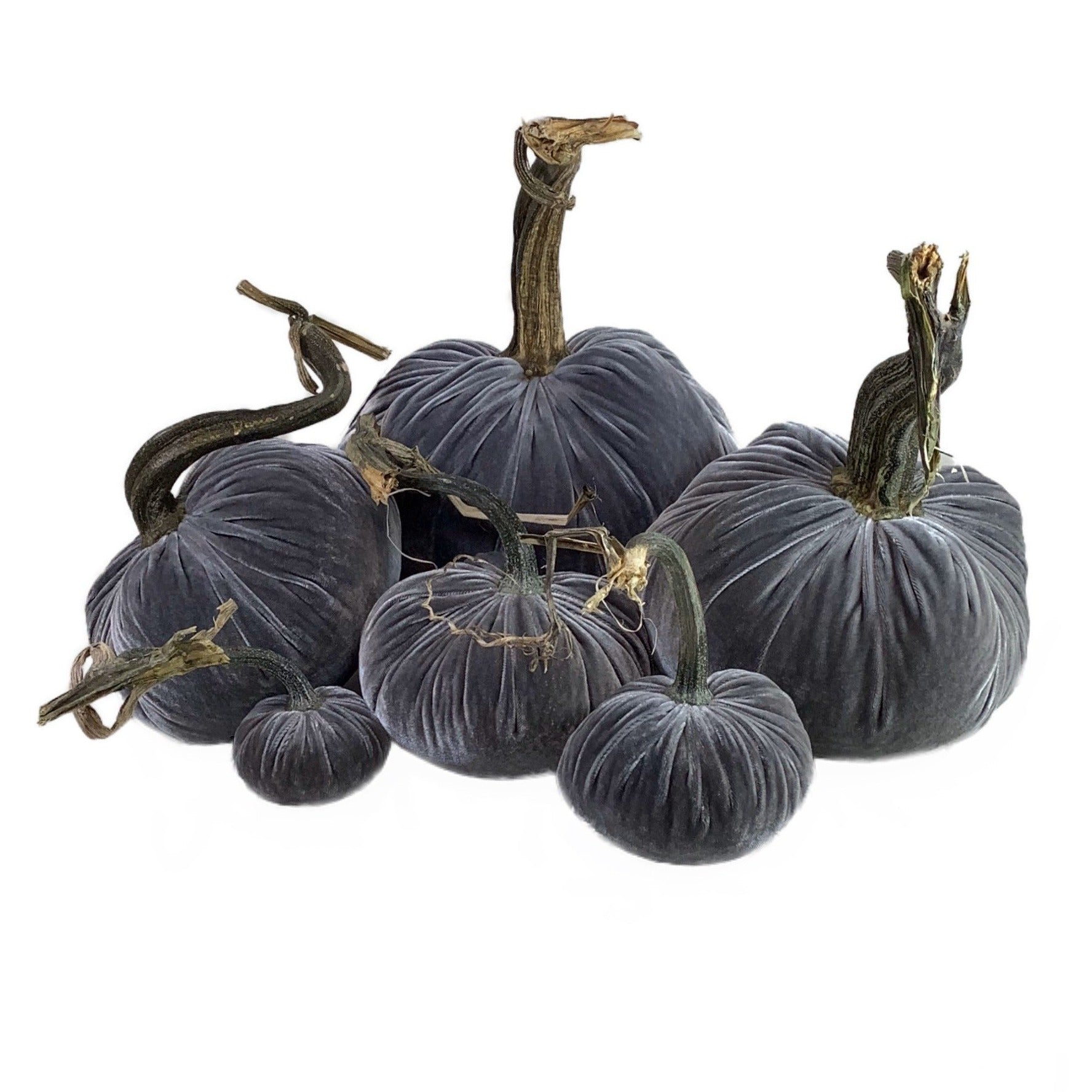 Velvet Decorative Pumpkin in Grey