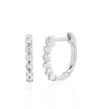 14k Bezel Diamond Huggie Earrings in White Gold