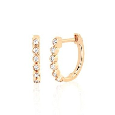 14k Bezel Diamond Huggie Earrings in Yellow Gold