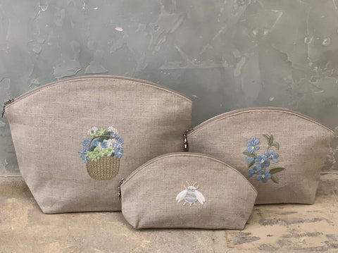 Bee Embroidered Cosmetic Bag in Natural