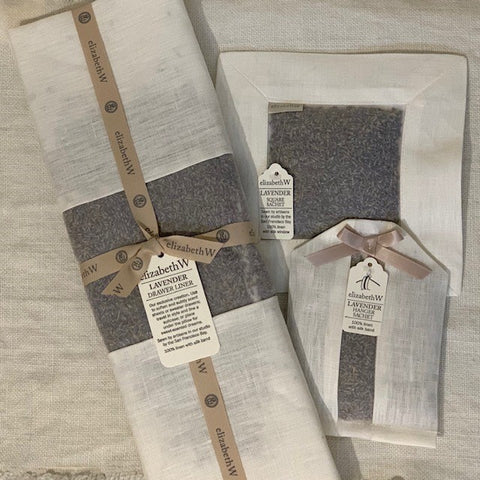 Lavender Scented Linen Square Sachet in Ivory
