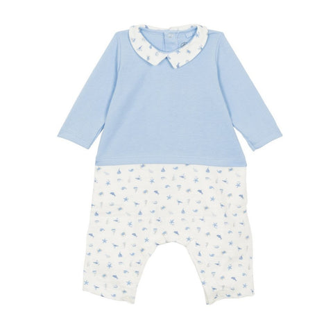 Fabulo Long Sleeved Seaside Print Romper in Blue + White