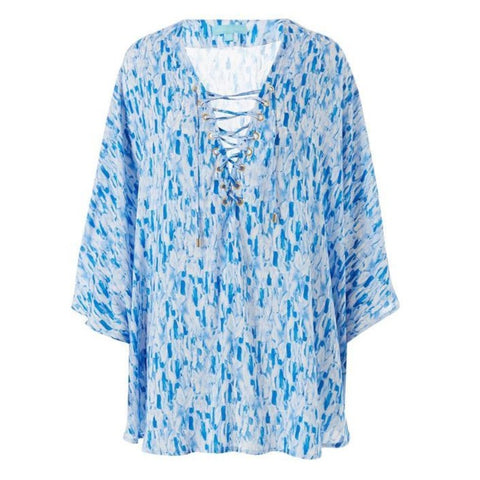 Lottie Lace-Up Short Kaftan in Silk Waterfall
