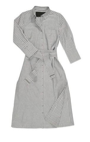 Button Down Striped Oxford Shirtdress in Ash Gray + White