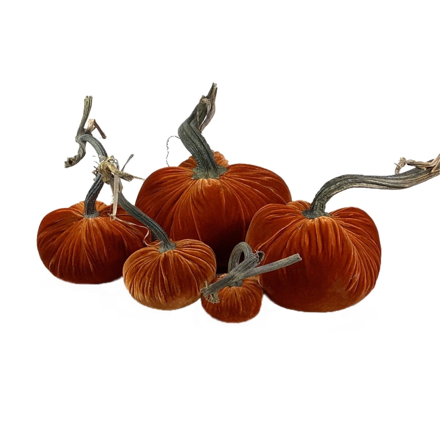 Velvet Decorative Pumpkin in Persimmon
