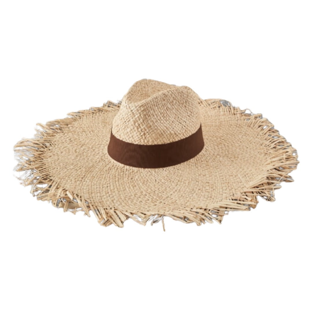 Large Brim Straw Hat with Cotton Ribbon