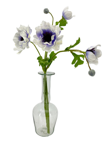 Double Anemone Stem in Cream Purple