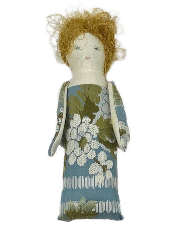 Handmade Jacquard Fabric Winged Angel in Blue