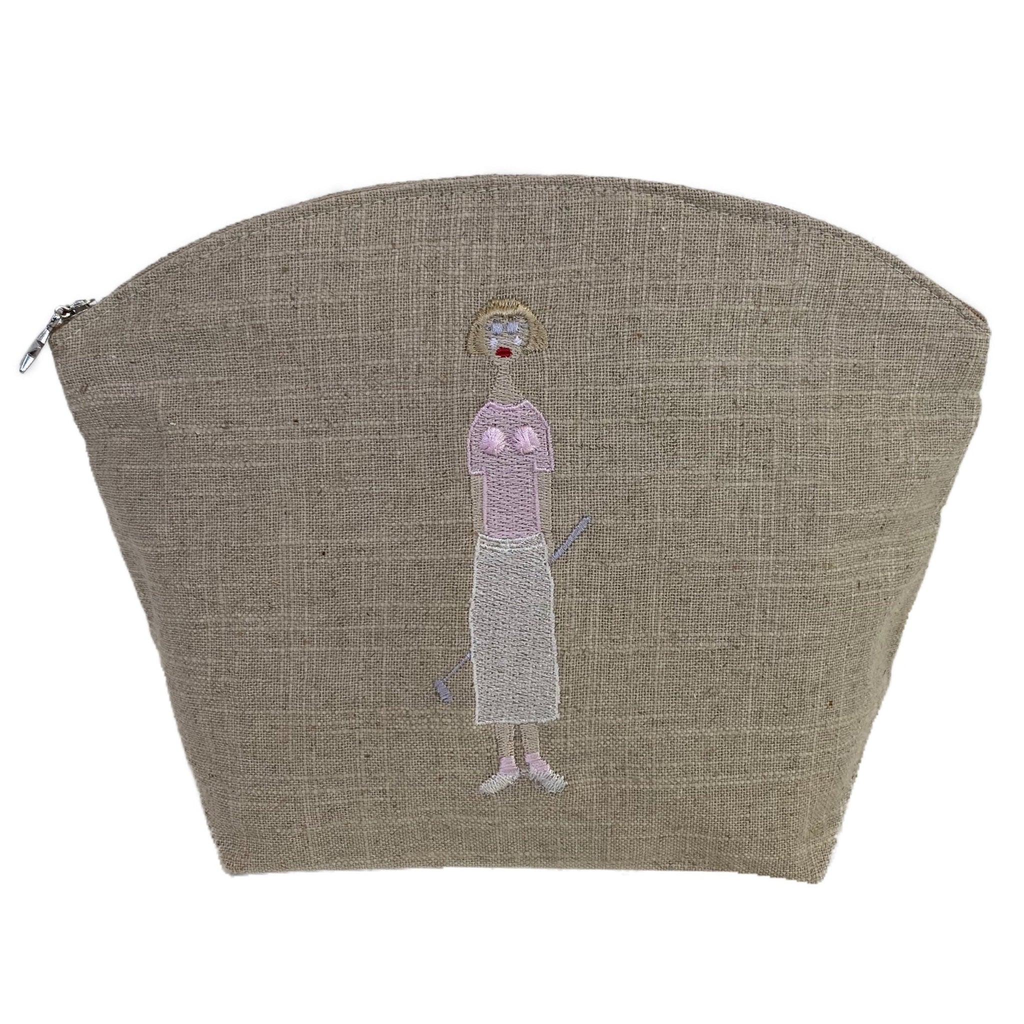 Golf Lady Natural Linen Cosmetic Bag in Pink