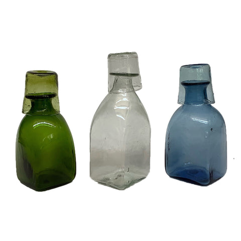 Bouteille Carré Petit Carafe Set in Blue Glass
