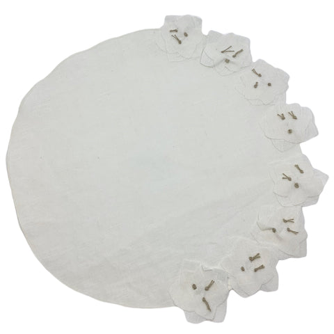 Coated Hellebore Round Placemat in White