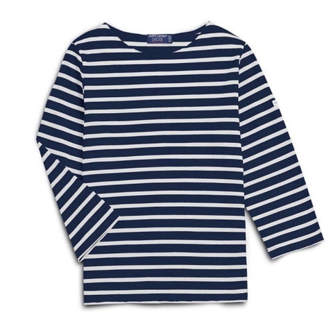 Galathee II Three-Quarter Striped Tee in Marine + Neige
