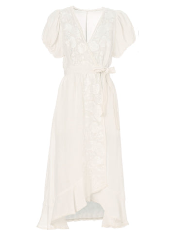 Frankie Frill Wrap Dress in White