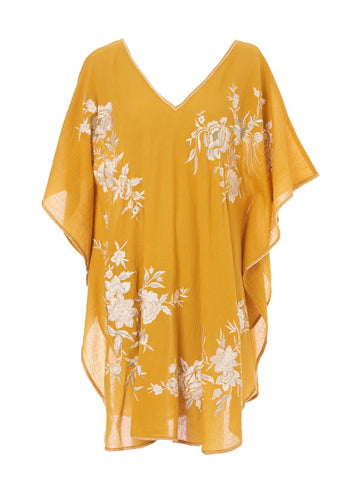 Alyssa Emroidered Kaftan in Mustard