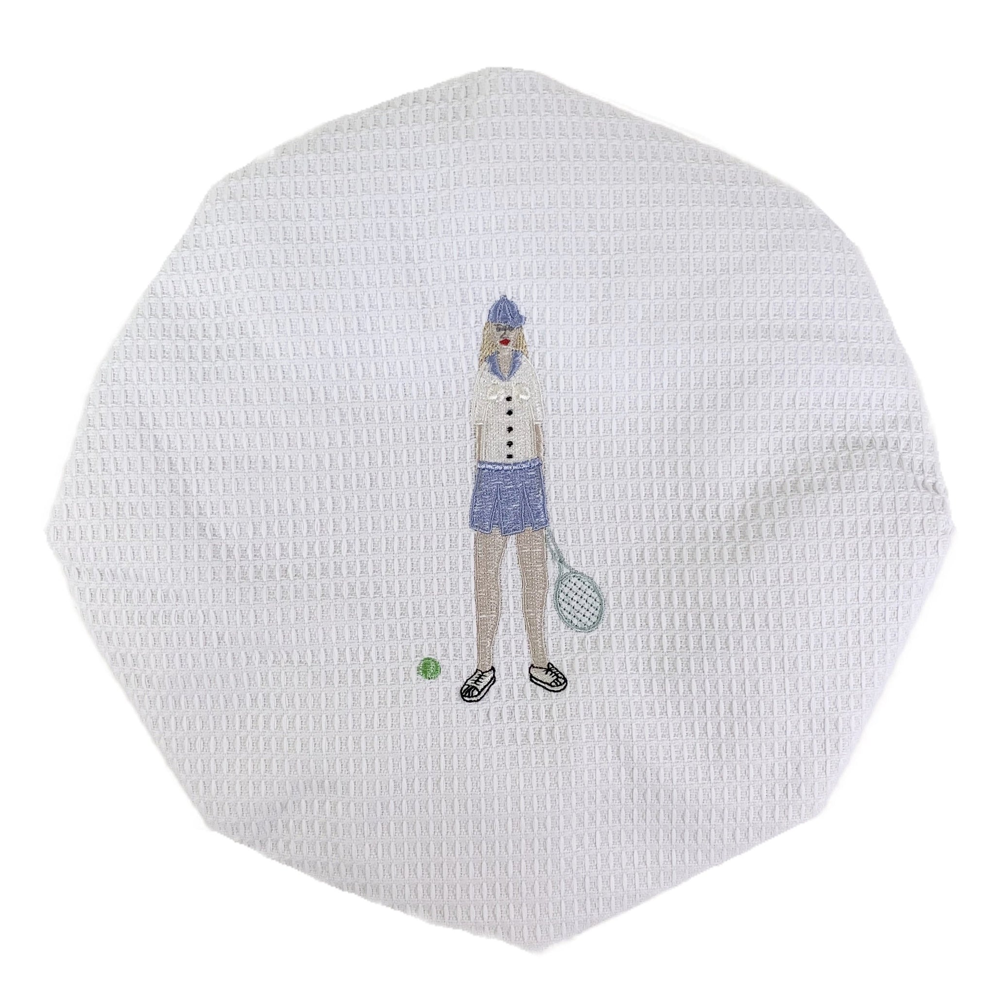 Tennis Lady White Waffle Shower Cap