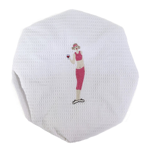 Wine Workout White Waffle Shower Cap