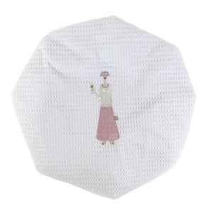 Champagne Lady White Waffle Shower Cap