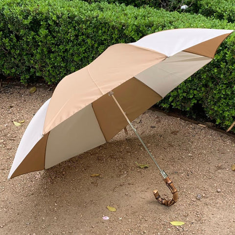 Bamboo Handled Umbrella in Ivory + Beige