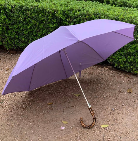Bamboo Handled Umbrella in Purple