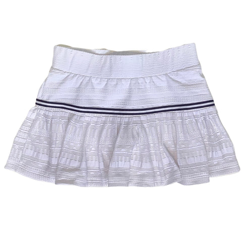 Lace Pleated Skort in White + Navy