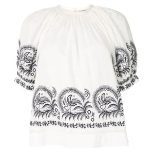 Blythe Embroidered Puff Sleeve Blouse in Blanc