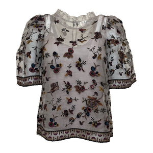 Francesca Short Sleeve Embroidered Top in Multi Floral