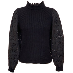 Iris Long Sleeve Sweater in Black