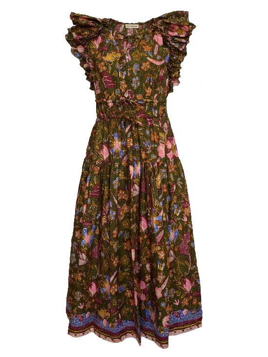 Arina Flutter Sleeve Dress in Pine Floral