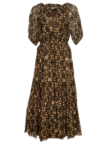 Tunis Gathered Maxi Dress in Olive Prism