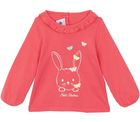 Ficelle Long Sleeved Ruffle Collar Tee with Bunny in Pink